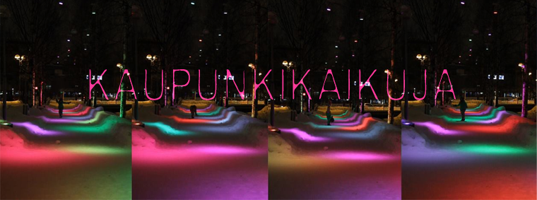Kaupunkikaikuja [Urban echoes], responsive, adaptive and informative lighting installation @Oulu